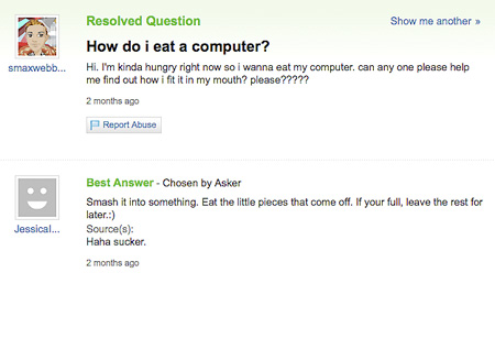 6 More Funny and Geeky Yahoo Answers - TechEBlog