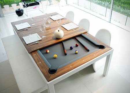 bumper pool kitchen table converts island fusion doubles dining perfect
