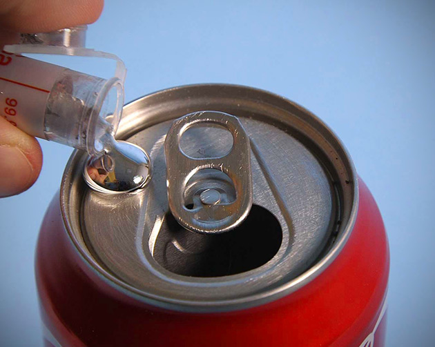 Amazing Liquid Metal Turns Soda Cans Into Tin Foil, Video Proves It