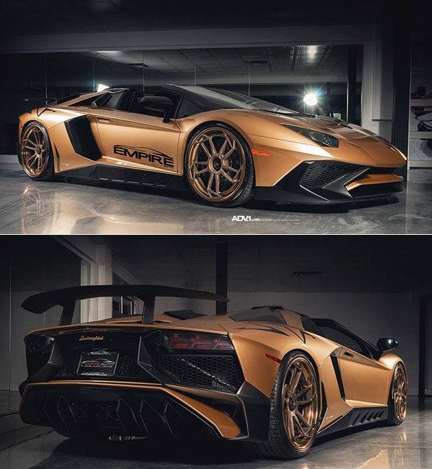 Gold Lamborghini Aventador SV