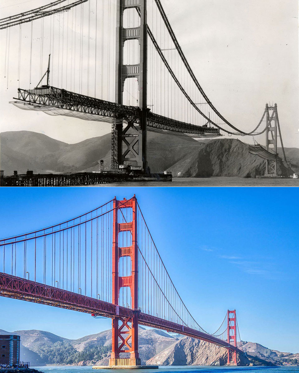 Golden Gate Bridge Then and Now