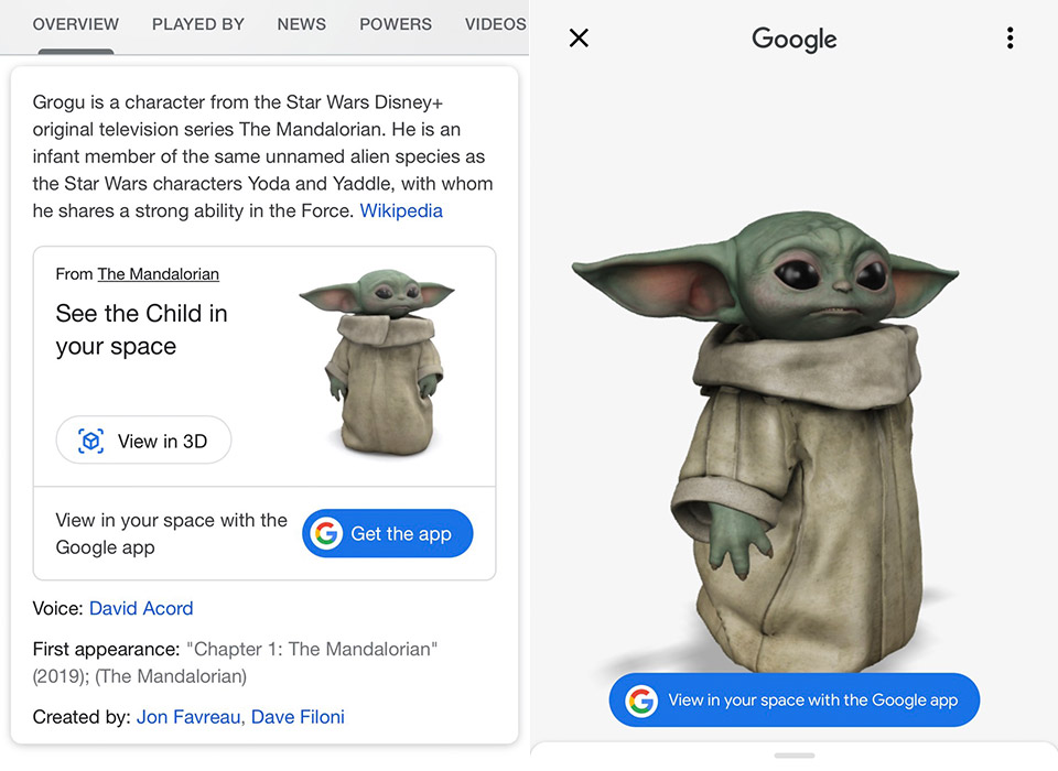 Google Augmented Reality Baby Grogu Yoda