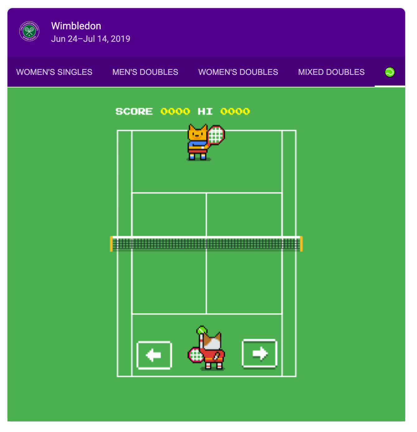 Google Search Wimbledon Tennis Game