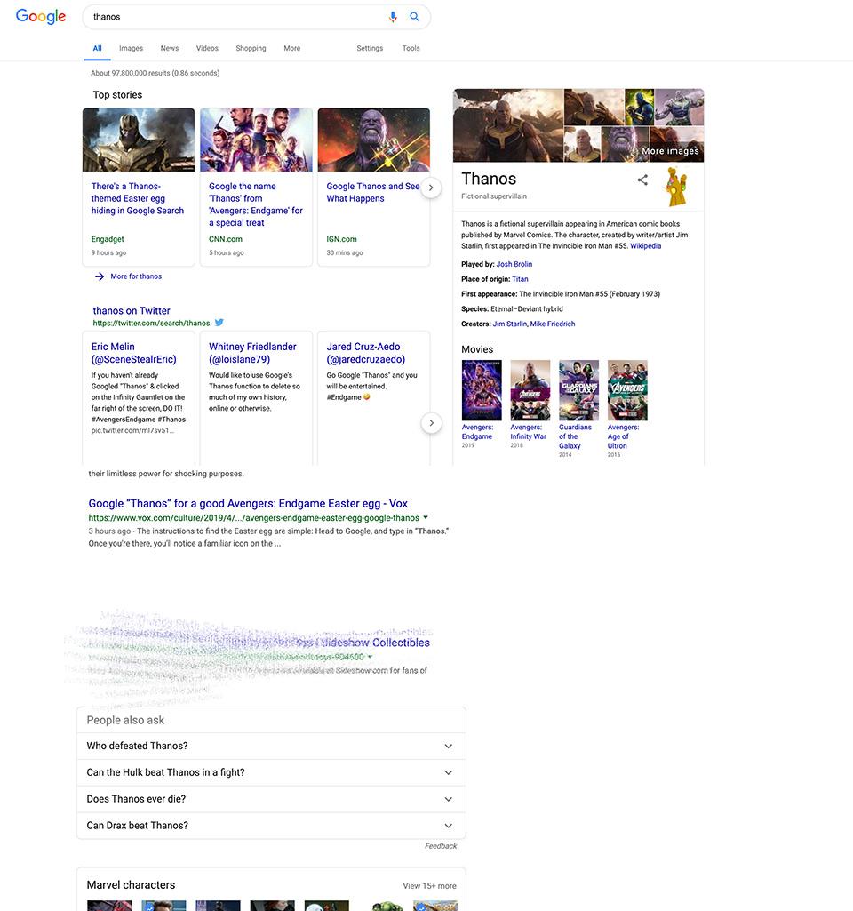 Google Thanos Easter Egg