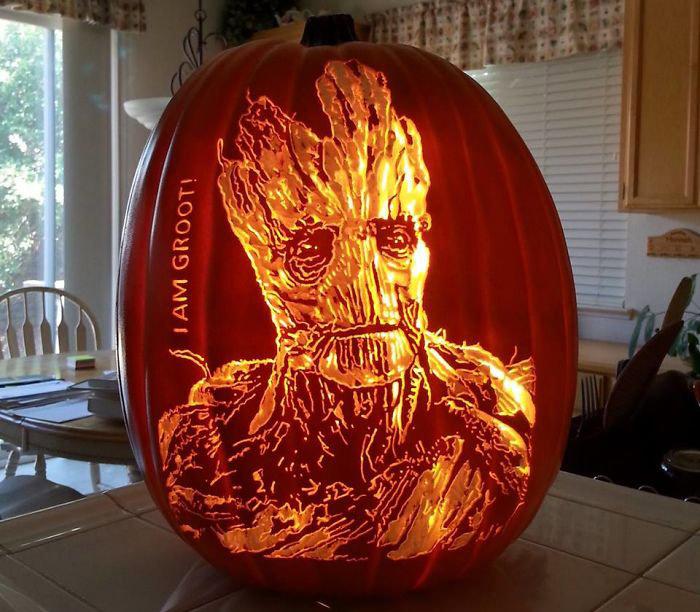 Groot Pumpkin Carving