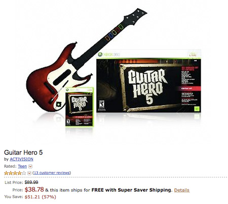 Amazon has the Guitar Hero 5 (Xbox 360) bundle for only $38.78 shipped,