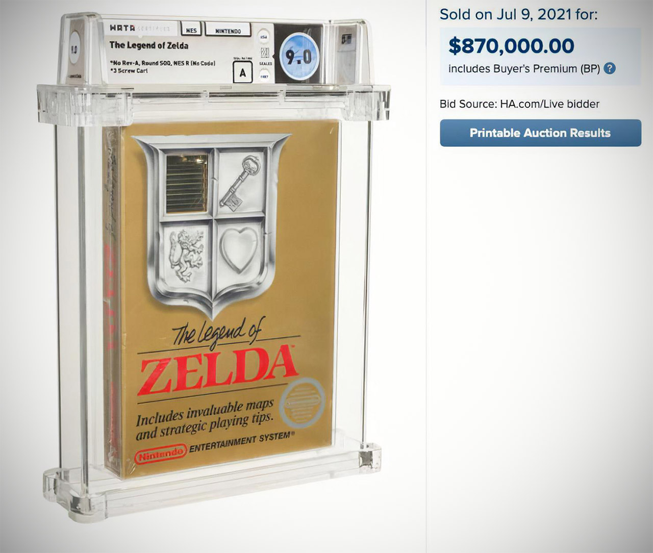 Heritage Auctions The Legend of Zelda Nintendo Entertainment System Game Record Sale