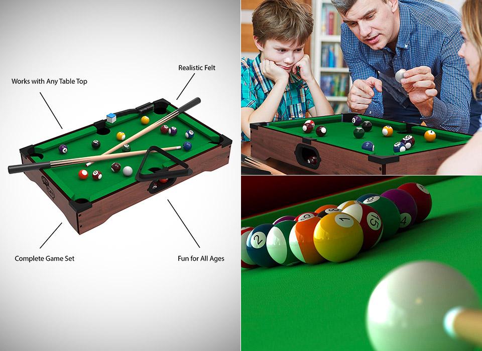 Hey Play Mini Tabletop Pool Set Billiards