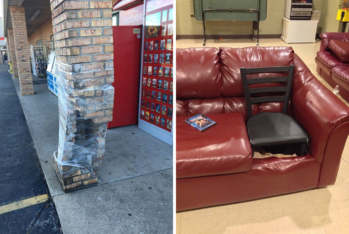 Fixing A Broken Pillar With Plastic Wrap And 12 More Examples Of Strange  Fixes
