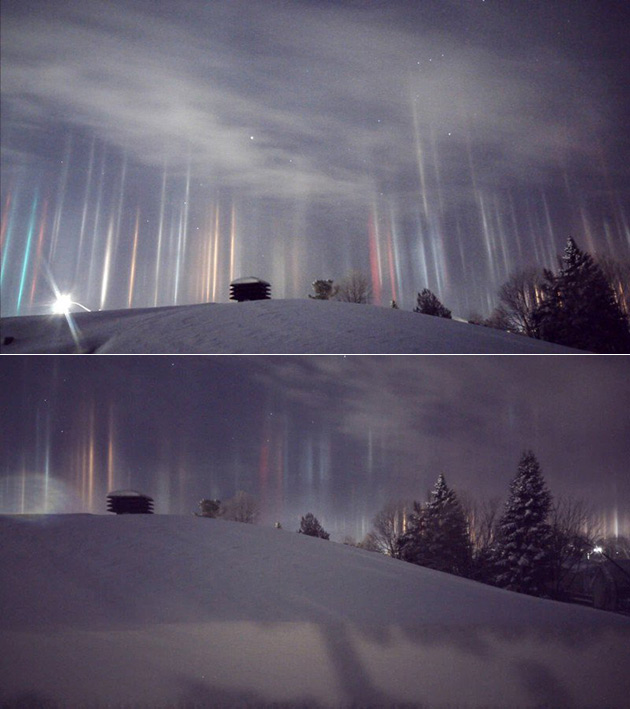 Icy Light Pillars