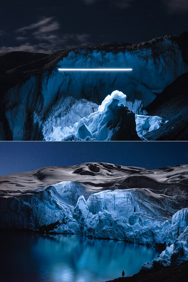 Illuminated Drone Glacier