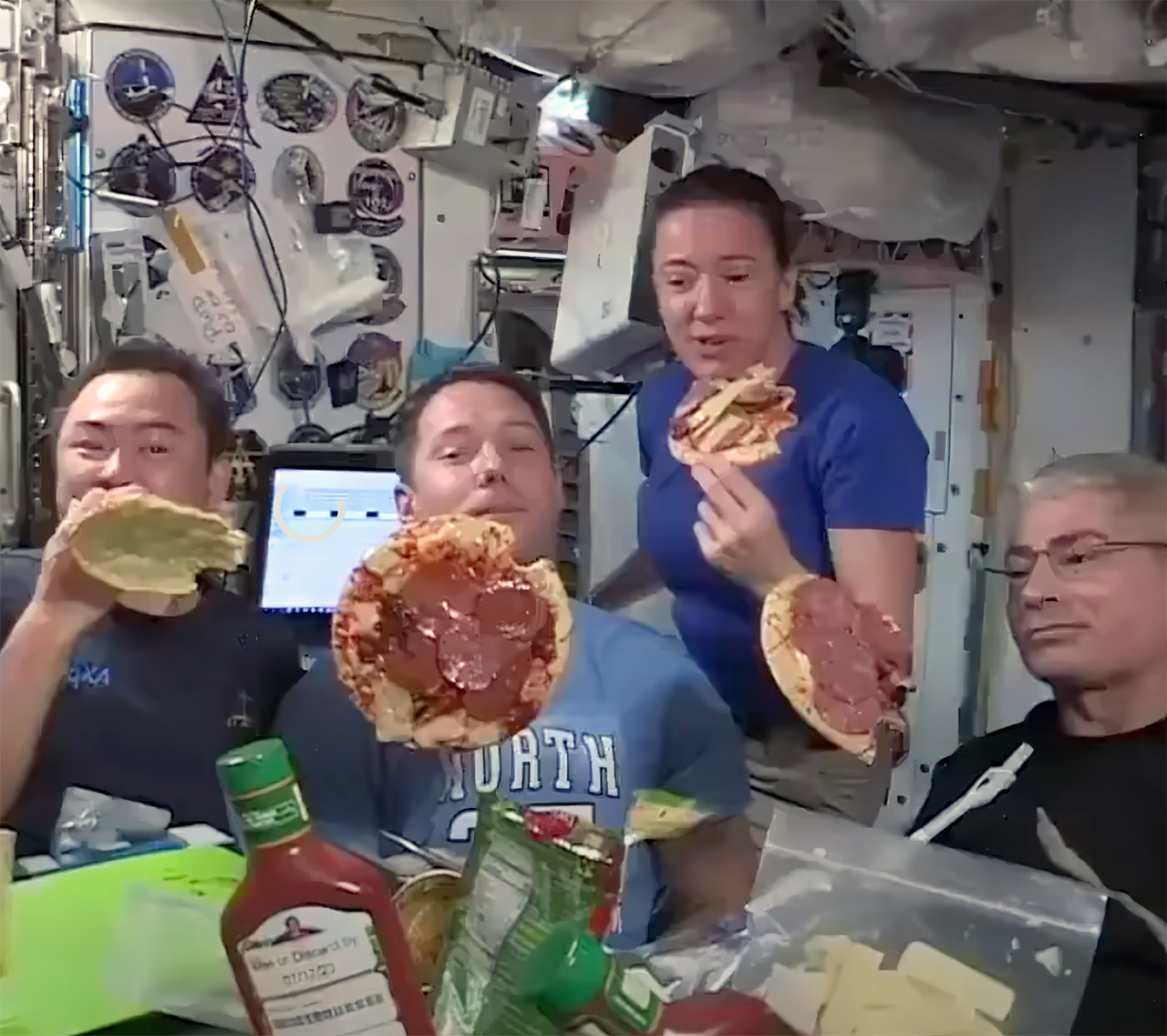 International Space Station Astronaut Pizza Party