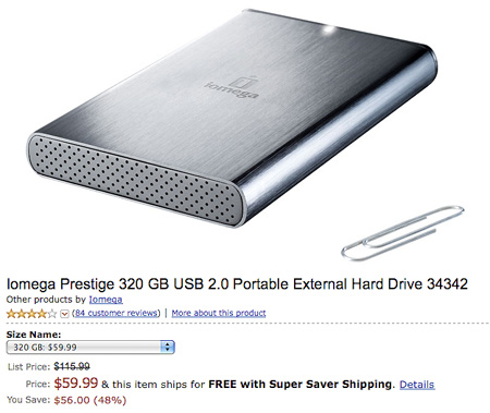 Deal of the Day: $115.99 Iomega Prestige 320GB USB 2.0 Portable Hard ...