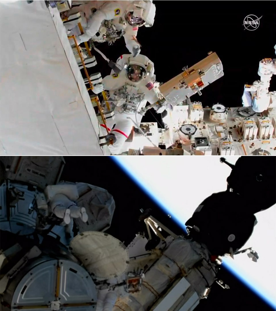 ISS Astronaut Spacewalk