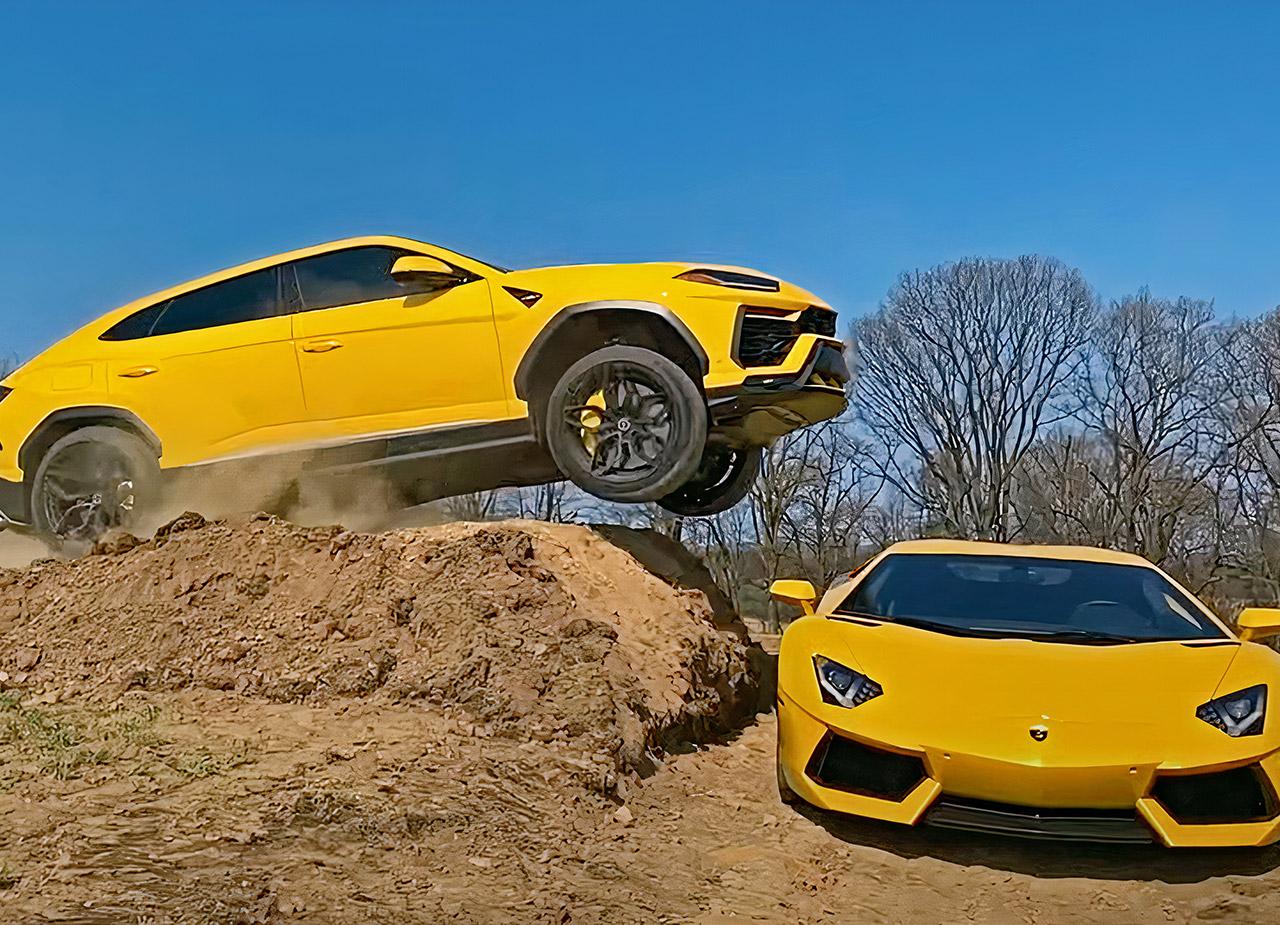 Jumping Over Lamborghini Aventador Urus