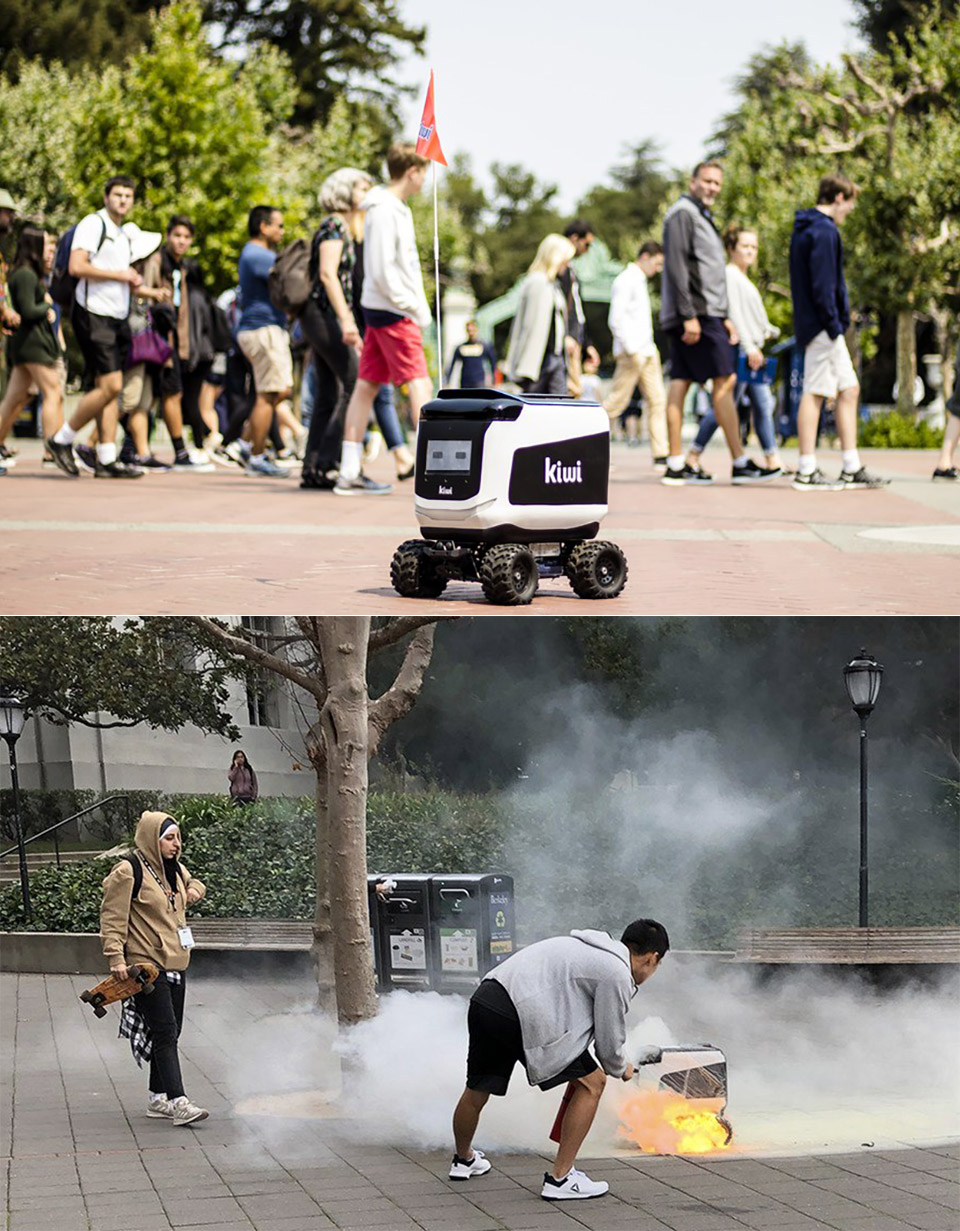 Kiwibot Delivery Robot Fire