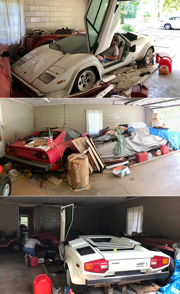 Man Rummages Around Old Garage Discovers Lamborghini Countach 500s