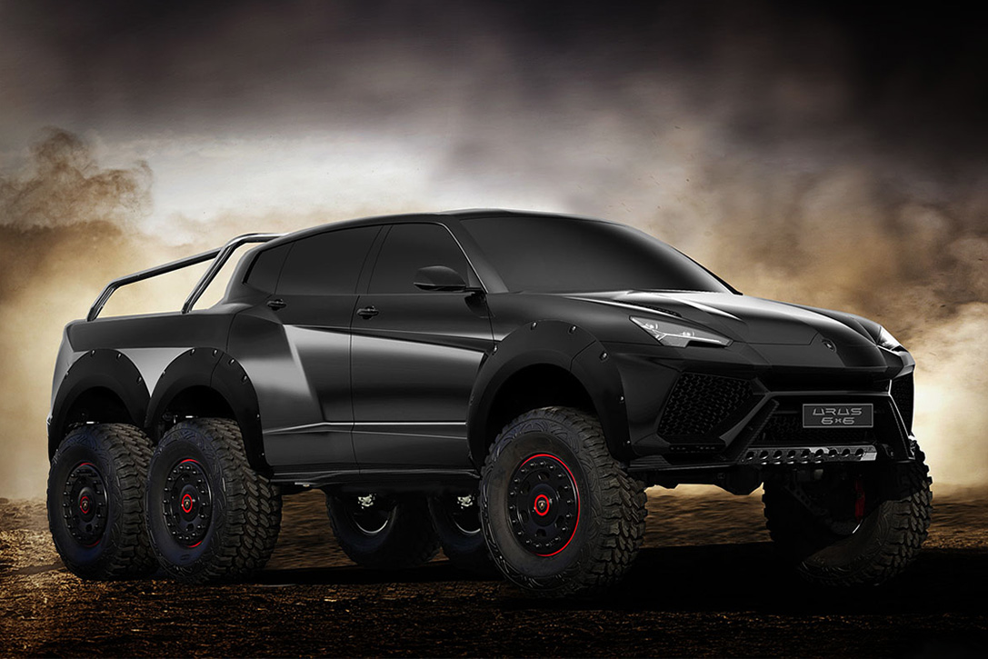 lamborghini urus 6x6 suv is a 6 wheeled beast designed to tackle any terrain techeblog. Black Bedroom Furniture Sets. Home Design Ideas