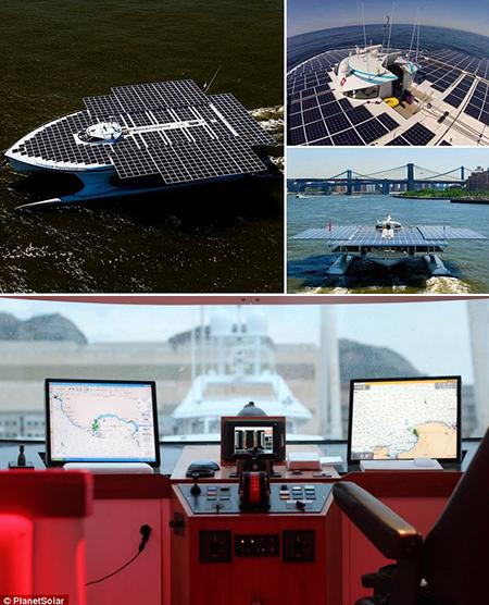 Plus grand bateau solaire du monde est alimenté par des 809 panneaux, ensembles nouveau Record de traversée Atlantique dans 22 jours