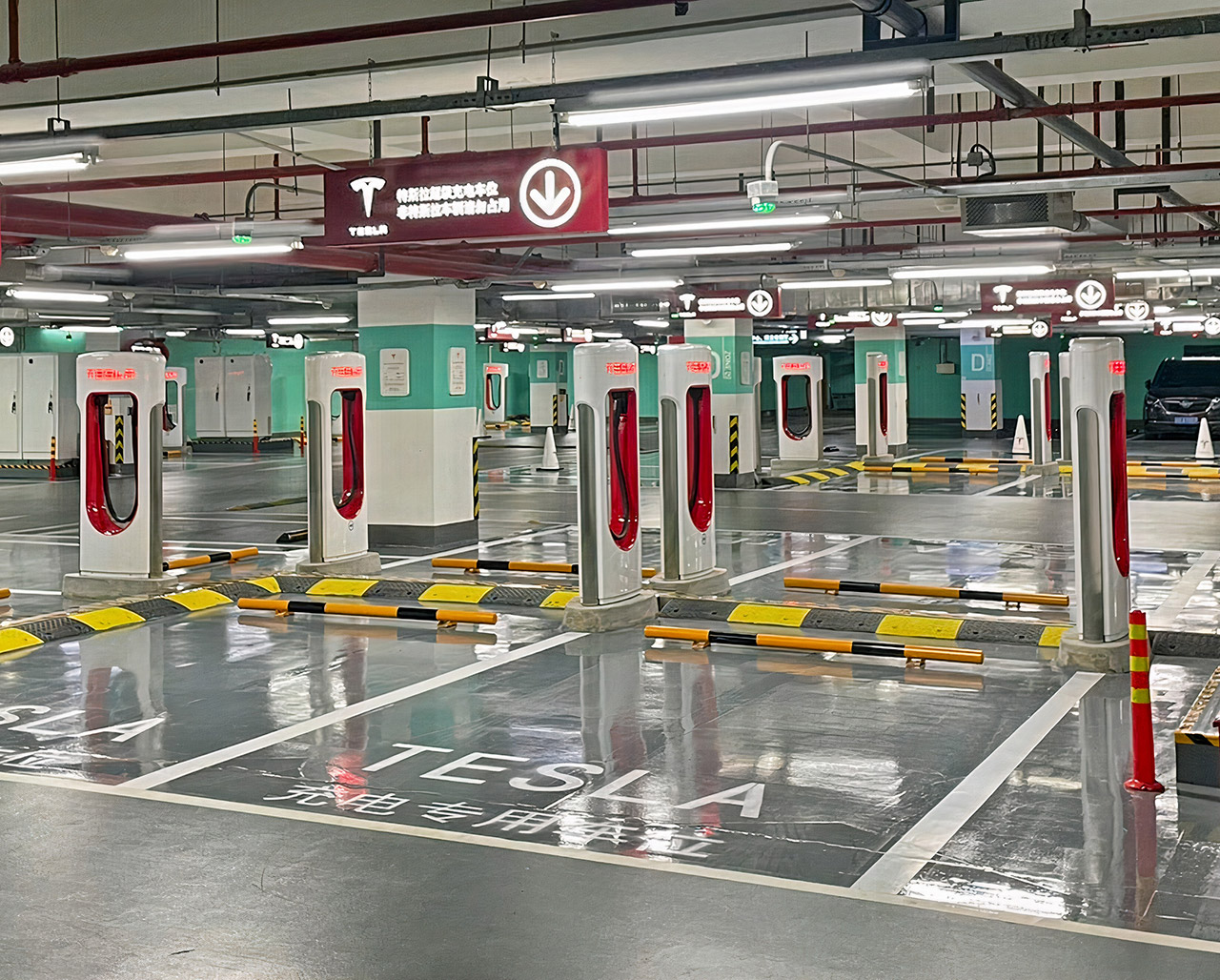 Largest Tesla Supercharger Station Shanghai China