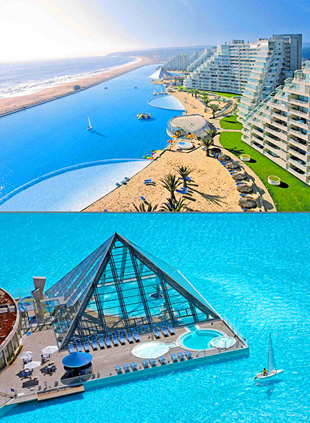 Mind blowing look at the largest swimming pool in the world at san alfonso del mar techeblog for Largest swimming pool in the us