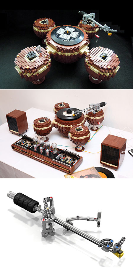 Brick master uses 2 405 lego pieces to build fully functional vintage record player techeblog - Lego brick caravan a record built piece by piece ...