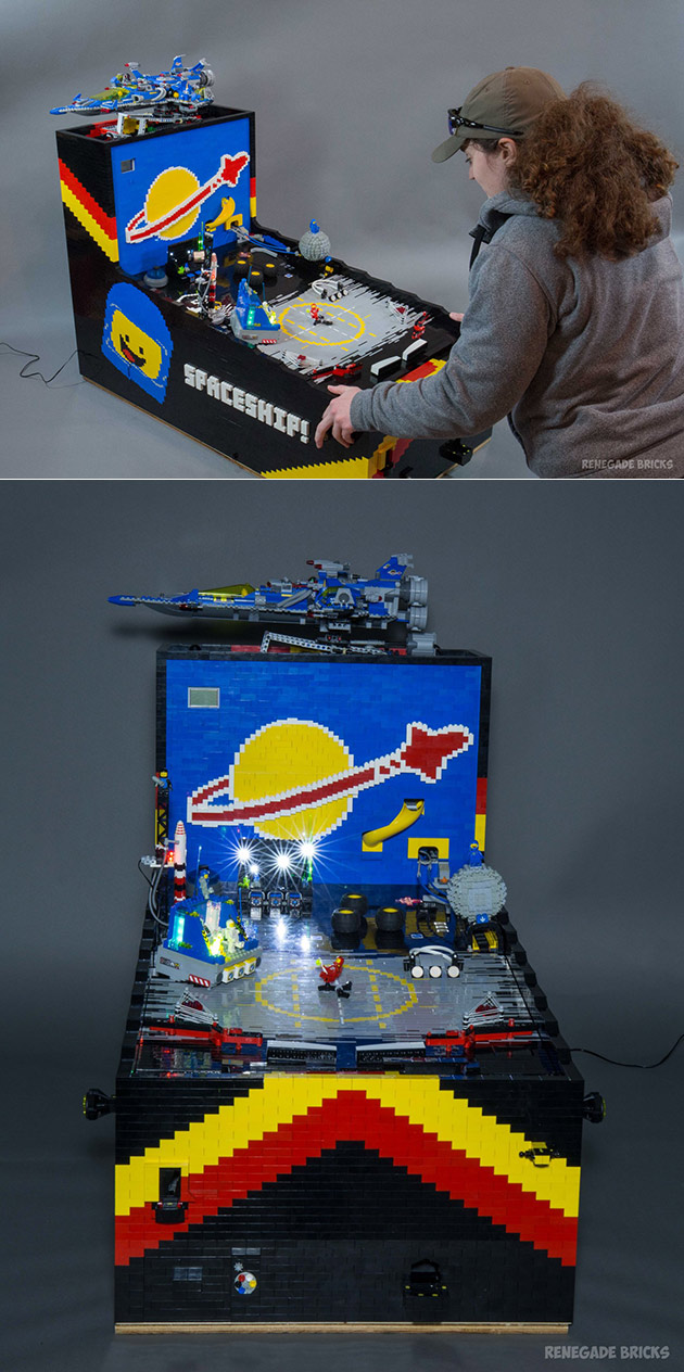 Benny's Space Adventure is a Fully-Functional Pinball Machine Built with LEGO Parts