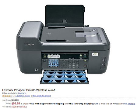 deal of the day lexmark prospect pro205 wireless 4 in 1 printer for shipped. Black Bedroom Furniture Sets. Home Design Ideas