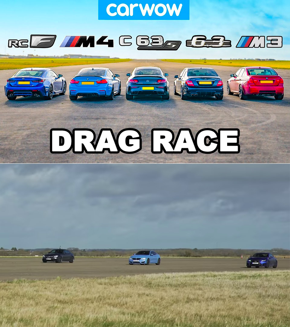 Lexus RC F BMW M3 Mercedes-AMG Drag Racing