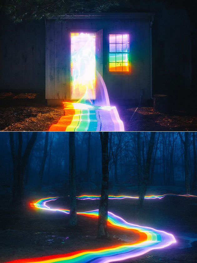 Photographer Uses Long Exposure Light Painting to Create a Real-Life Rainbow Road