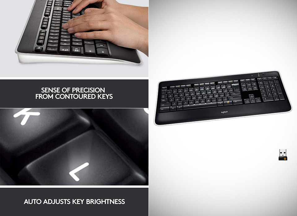 Logitech K800 Wireless Illuminated Backlit Keyboard