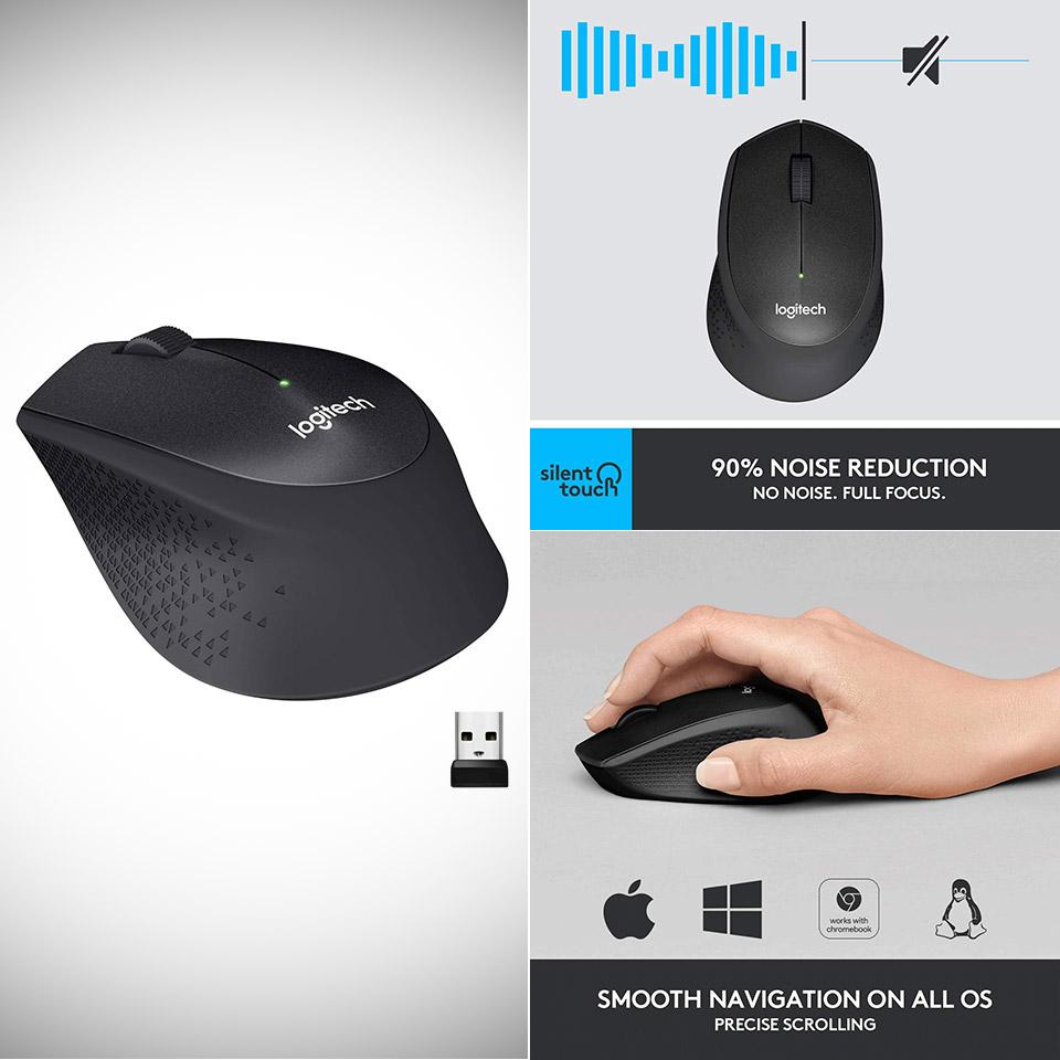 Logitech M330 Silent Plus Wireless Mouse Black