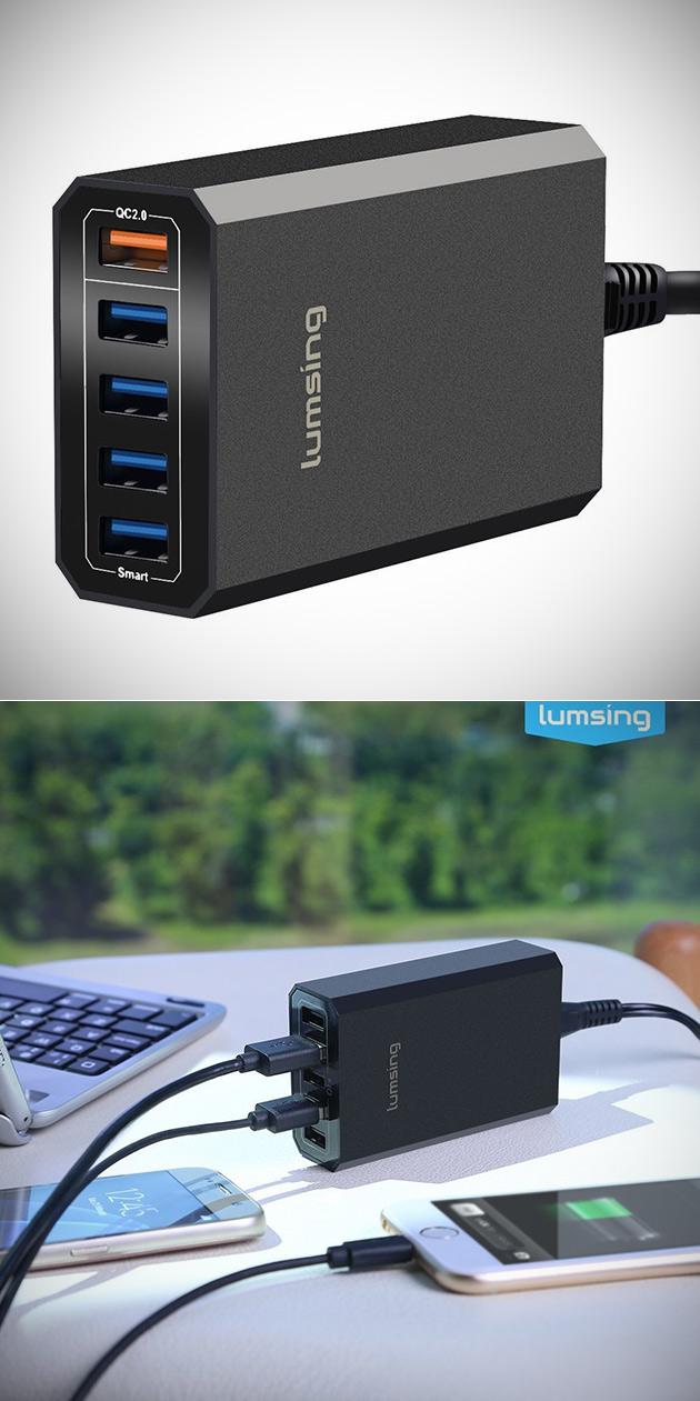 Lumsing Quick Charge 2.0 de 40W Chargeur USB Pouvoirs À 5 Appareils à la Fois, en Obtenir Un pour 4,99 $Livré - aujourd'Hui Seulement