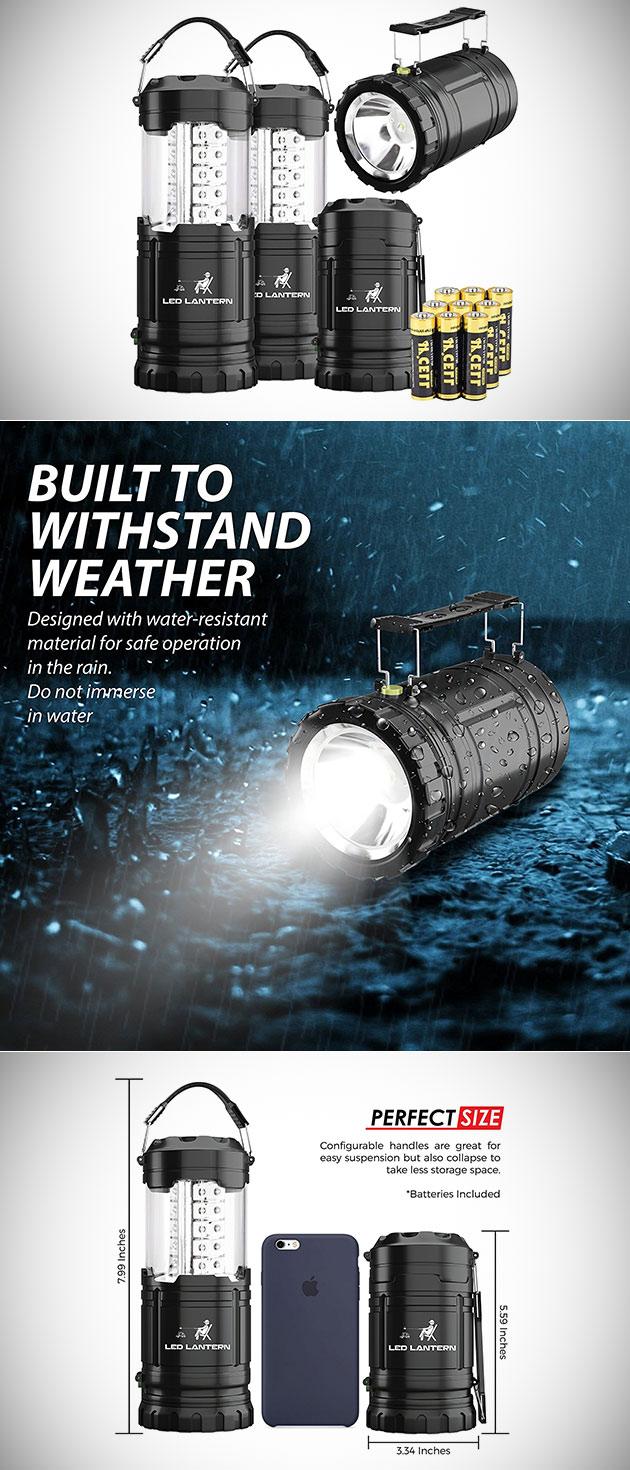 Ne pas Payer 100$, Obtenez MalloMe 2-en-1 LED lampe de Camping Lampe de poche Torche (4-Pack) pour $14.24 - aujourd'Hui Seulement
