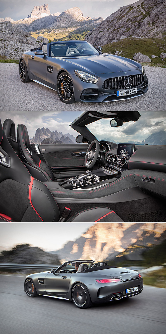 mercedes amg gt roadster unveiled is powered by biturbo v8 and comes in stealth black techeblog. Black Bedroom Furniture Sets. Home Design Ideas