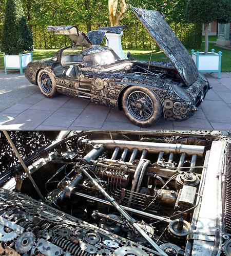 Scrap metal mercedes benz 300slr unveiled techeblog for Mercedes benz scrap yard