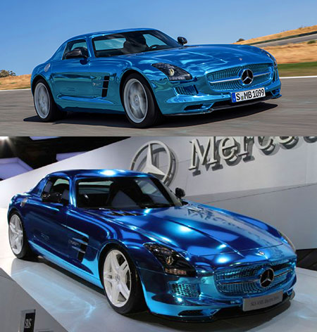 Mercedes benz sls amg electric drive boasts 740hp blue for Mercedes benz chrome