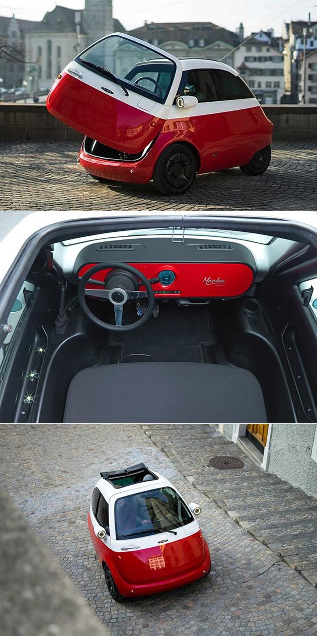 Minuscule Microlino Voiture Électrique est Modélisé d'Après BMW Isetta, A un Seul Swing-Out Door