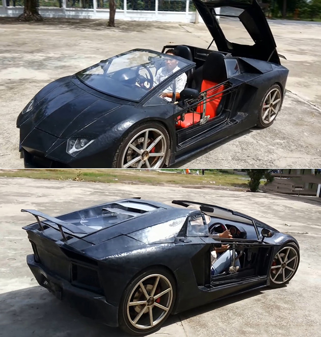 Auto Enthusiast Builds Miniature Lamborghini Aventador Roadster Powered By  A Motorcycle Engine