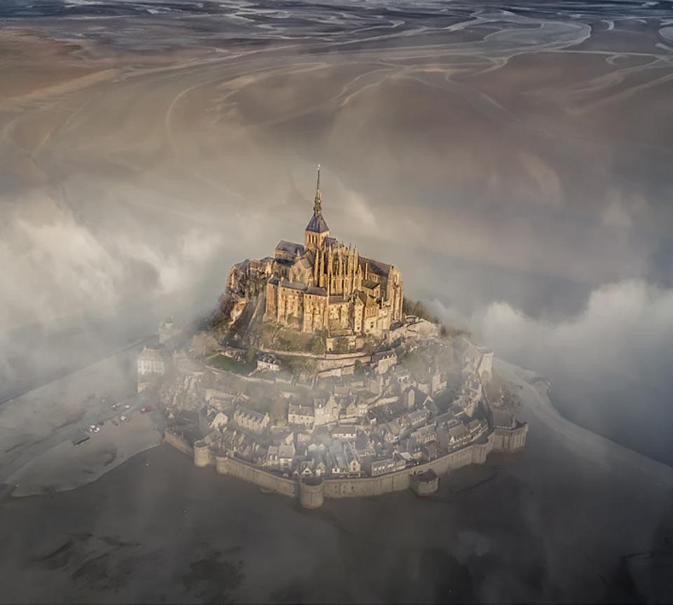 Mont Saint Michel Aerial Drone