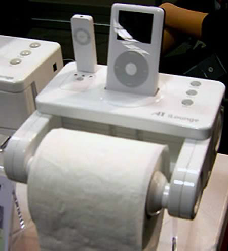 6 Funny And Weird Muti Function Gadgets Techeblog - Icarta-ipod-dock-and-toilet-roll-dispenser