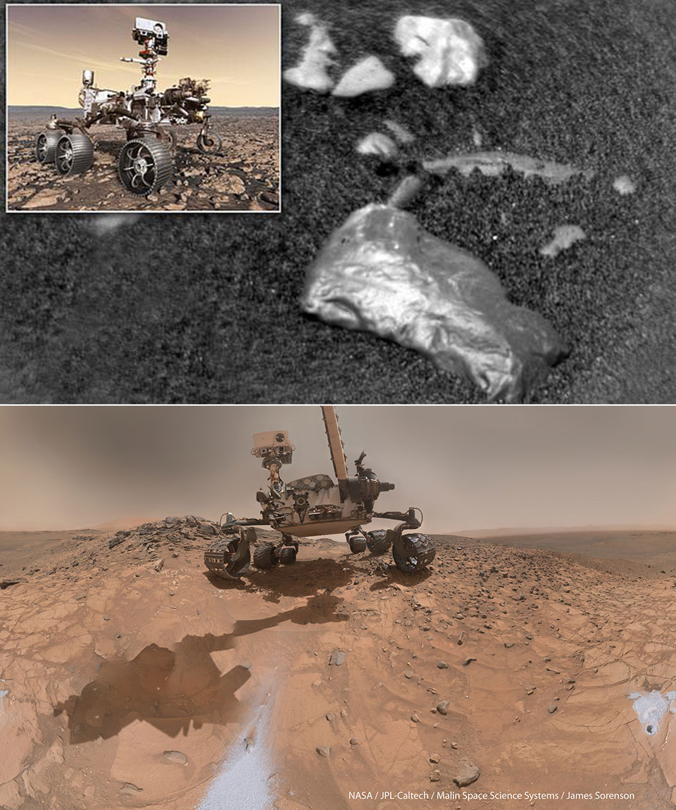 NASA Curiosity Rover Shiny Rock Mars