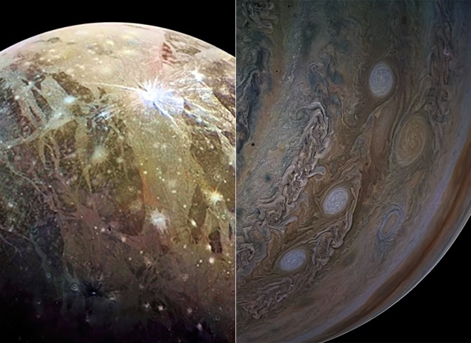NASA Juno Spacecraft Moon Ganymede Jupiter Solar System