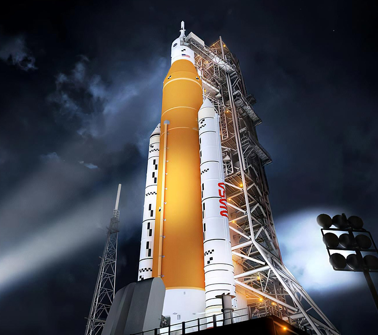 NASA Space Launch System Fire Test Moon Rocket