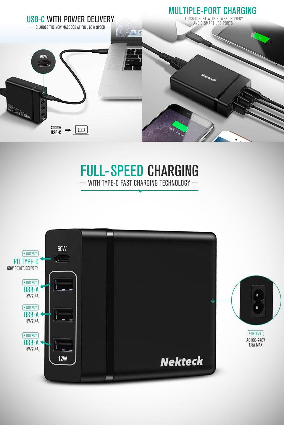 Nekteck 72W USB Wall Charger