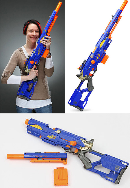 The fastest nerf gun from Hasbro, this is a fully motorised nerf gun fires  off five darts a second. The drum can hold up to 25 darts, you can shoot  off ...