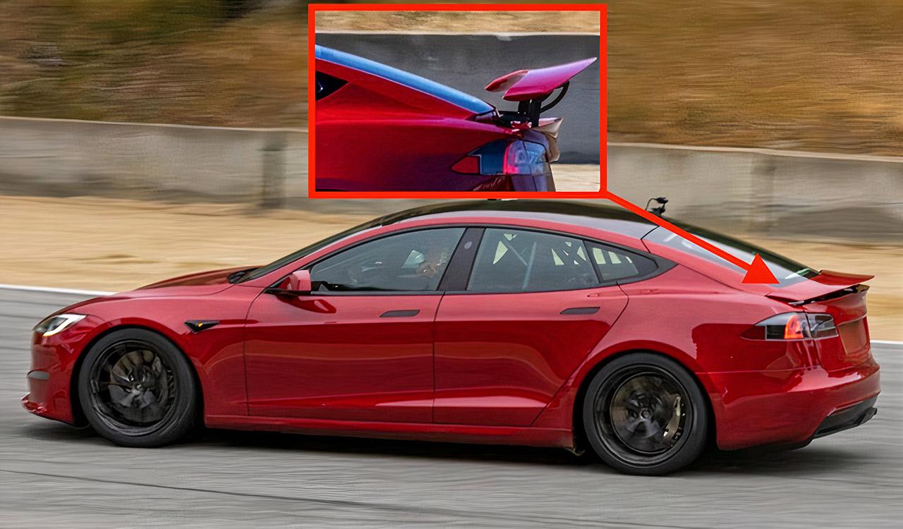New Tesla Model S Plaid+ Retractable Spoiler Laguna Seca Lap Record