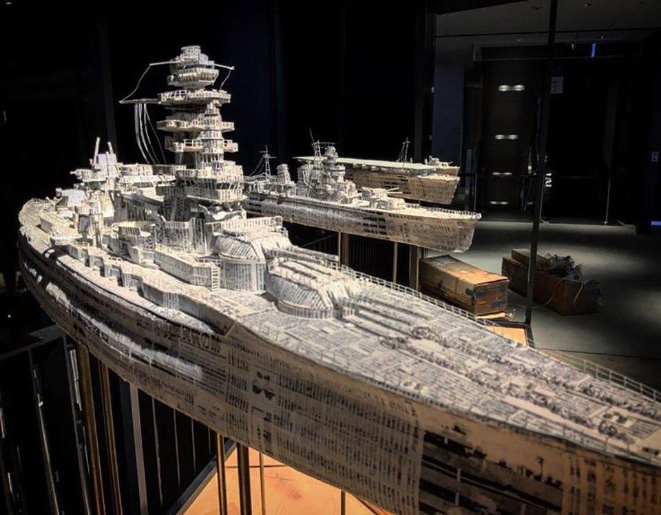 Newspaper Sculpture Art Battleship