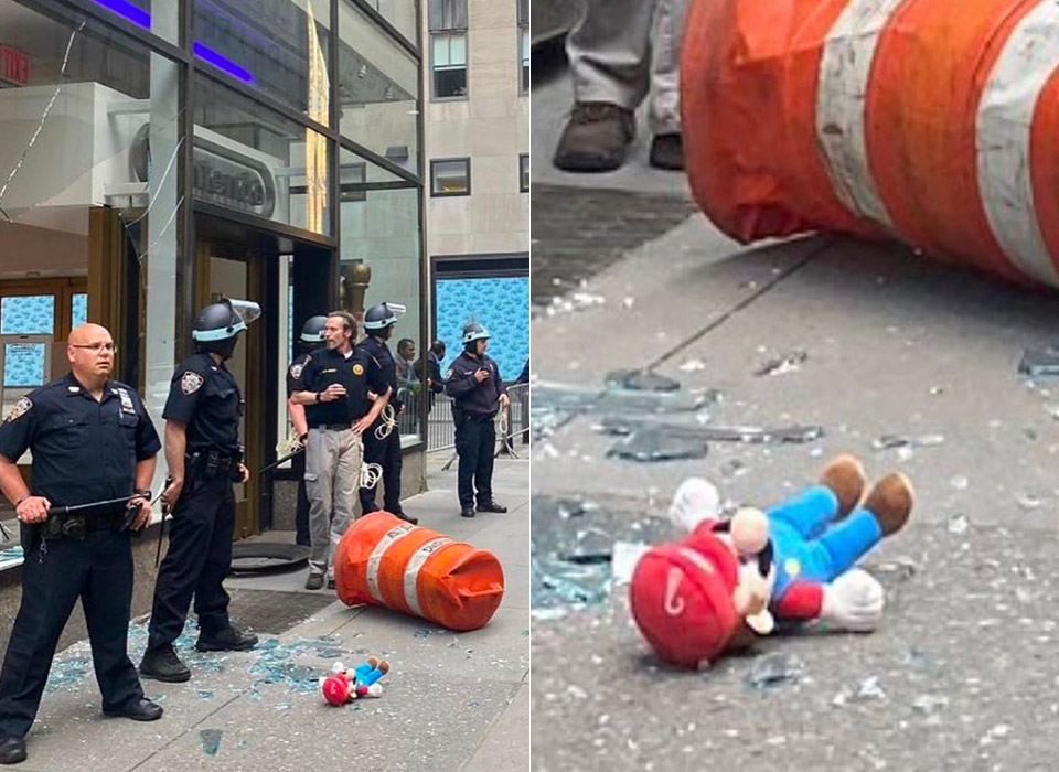 Nintendo NY Damaged Protests