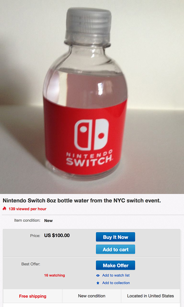 Nintendo Switch Bottle Water